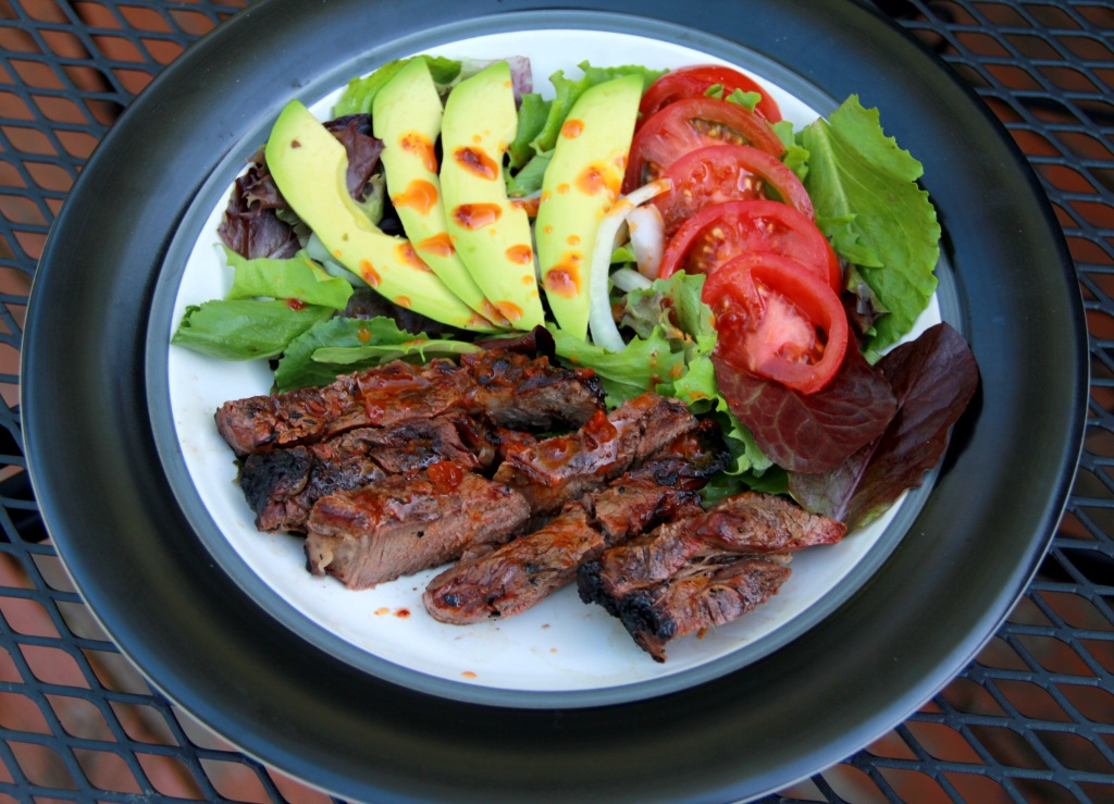 chipotle steak with salad